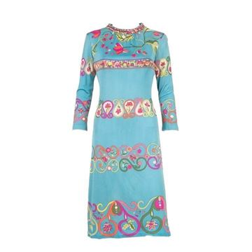 Emilio Pucci 1960s Blue Silk Jersey Dress with Belt