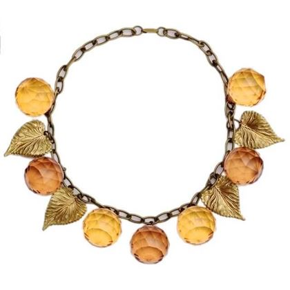 Vintage 1940s Big Glass Ball & Golden Leaf Statement Necklace