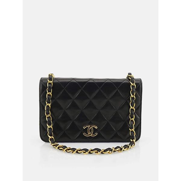 885564a5eb0a Chanel Classic Black Lambskin Leather Quilted Full Flap Shoulder Bag