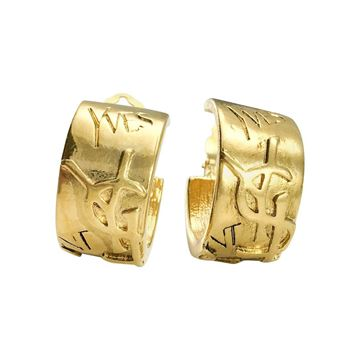 Yves Saint Laurent 1980s Gold-Plated Logo Clip-On Hoop Earrings