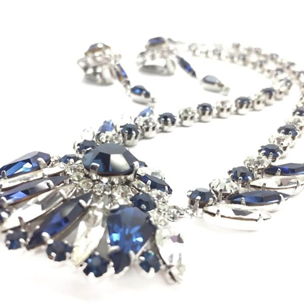 Vintage 1950s Blue and White Crystal Necklace and Earrings