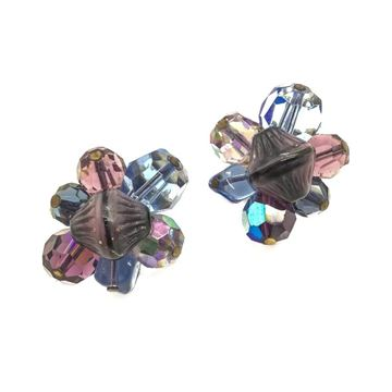 hattie-carnegie-1950s-purple-and-blue-crystal-art-glass-vintage-earrings