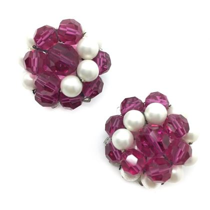 Marvella 1950s Shocking Pink Crystal and Faux Pearl Collar and Earrings