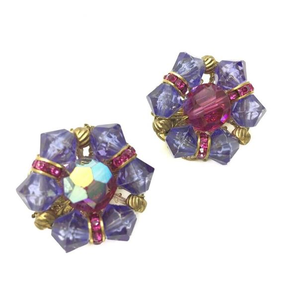 Hobe 1950s Pink and Purple Clip Earrings
