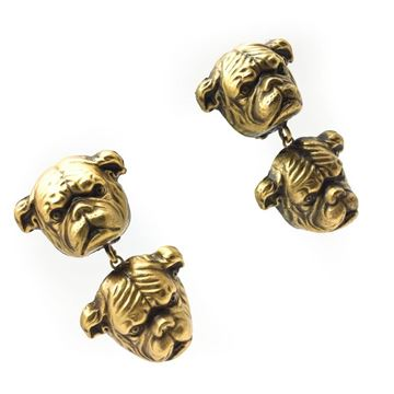Joseff of Hollywood 1940s Pug Dog Gilt Vintage Earrings