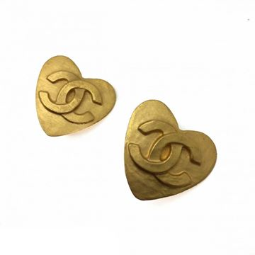 Chanel 1990s Gilt Heart Logo Clip Earrings