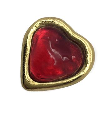 Yves Saint Laurent Poured Glass Red and Gilt Heart Pin