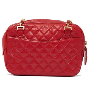 Chanel Red Quilted Camera Style Shoulder Bag