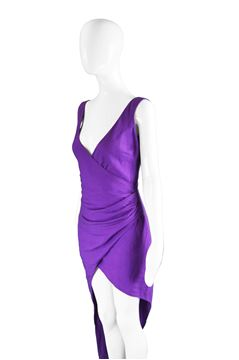 Byblos 1990s Asymmetric Purple Linen Party Dress