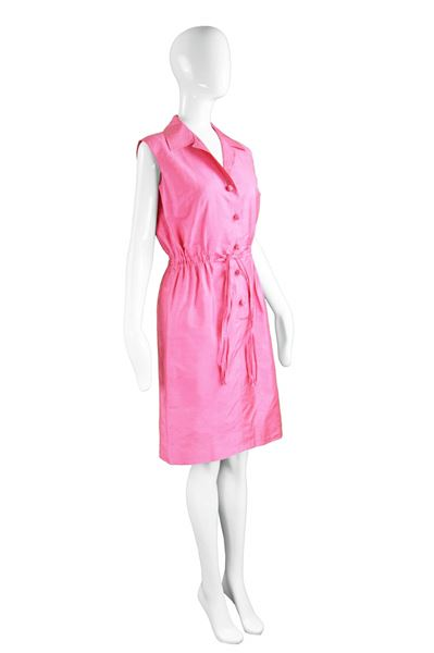 Carven Paris 1960s Shocking Pink Silk Vintage Dress