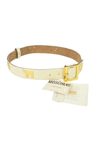 Moschino 1980s White Cow Amp Heart Leather Belt