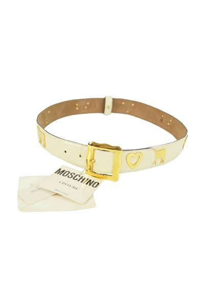 Moschino 1980s White Cow & Heart Leather Belt