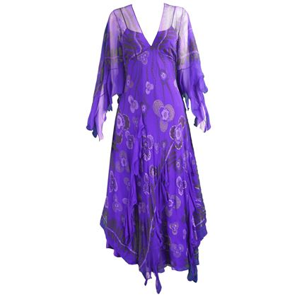 Zandra Rhodes 1970s Purple Silk Chiffon Vintage Dress