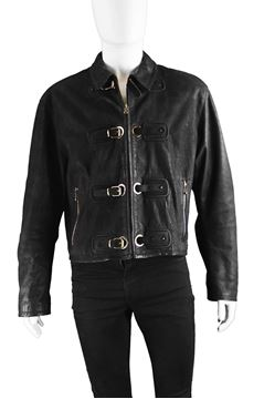 Calugi E Giannelli Black Buckle Leather Jacket