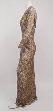 Vintage 1970s Floral Metallic Gold and Purple Lace Evening Dress