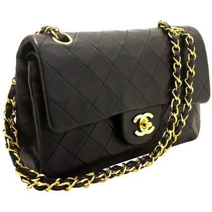 "Chanel 1990s Quilted Lambskin Black 9"" 2.55 Double Flap Bag"