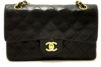 """Chanel 1990s Quilted Lambskin Black 9"""" 2.55 Double Flap Bag"""