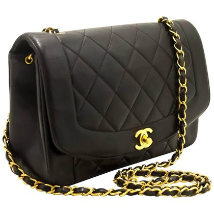 Chanel 1990s Quilted Lambskin Black Diana Flap Bag