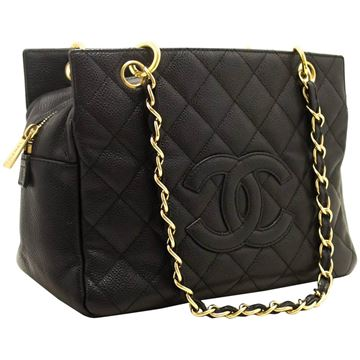 Chanel Quilted Caviar Leather Black Petite Timeless Tote Bag