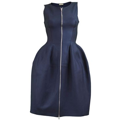 Alaia Paris Navy Blue Sculptural Party Dress