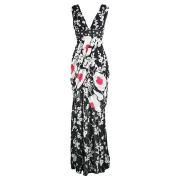 Kenzo Draped Silk Chiffon Floral Maxi Dress