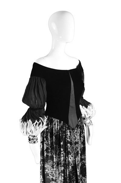 Curiel Couture 1970s Black & Grey Printed Velvet Evening Gown