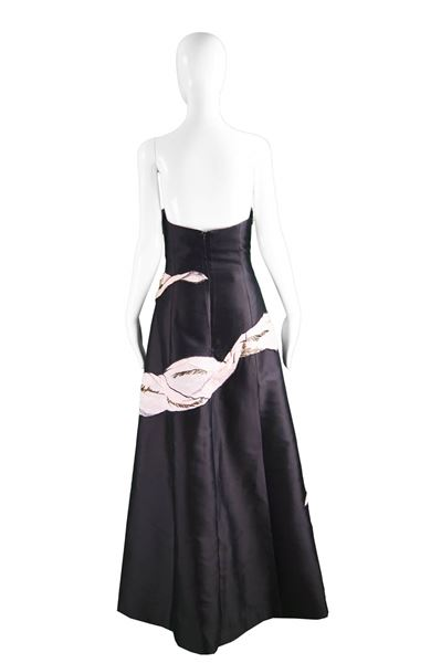 Bruce Oldfield Couture 1990s Silk & Organza Black Gown