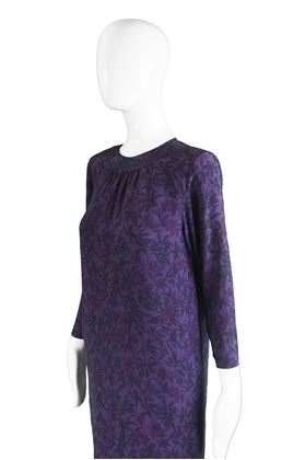 Hanae Mori 1980s Hibiscus Print Purple Silk Dress