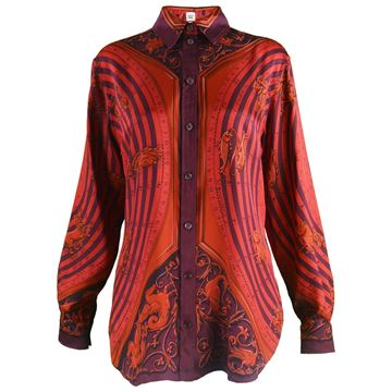 "Hermes ""Astrologie"" by F Faconnet Red Womens Silk Shirt"