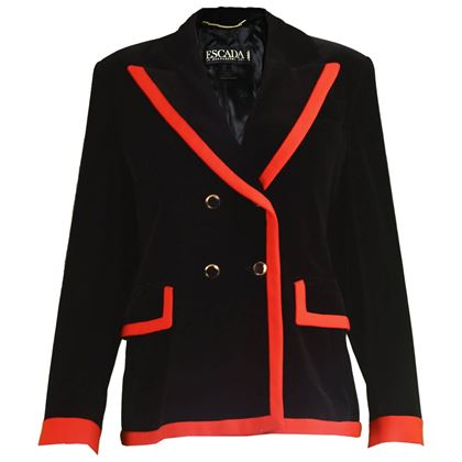 Escada 1980s Black Velvet & Red Crepe Blazer
