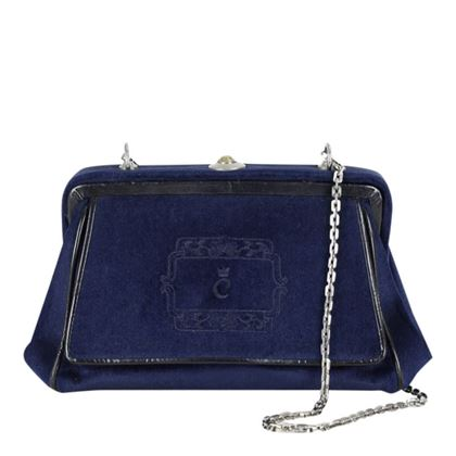 Comtesse 1950s to 1960s Velvet Navy Blue Vintage Shoulder Bag