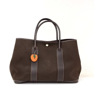 hermes-garden-party-pm-dark-brown-leather-canvas-hand-bag