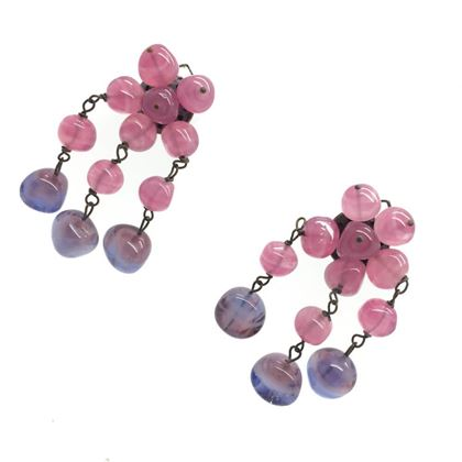 Vintage 1950s Italian Pink and Purple Art Glass Drop Earrings
