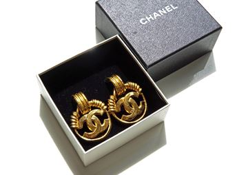 Chanel 1990s CC Logo  Vintage Earrings