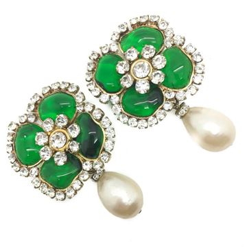 Chanel 1970s Gripoix Flower and Pearl Drop Green Earrings