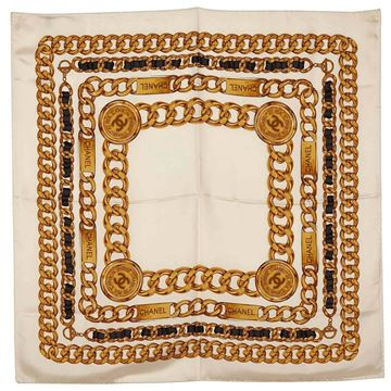 chanel-white-silk-chain-pattern-square-scarf