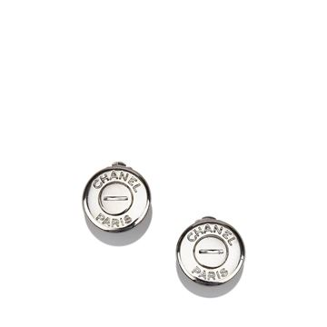 chanel-round-silver-toned-chanel-paris-clip-on-earrings