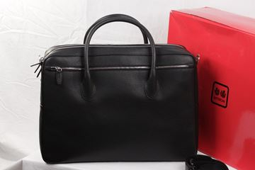 Battistoni Black Leather Large Briefcase Bag