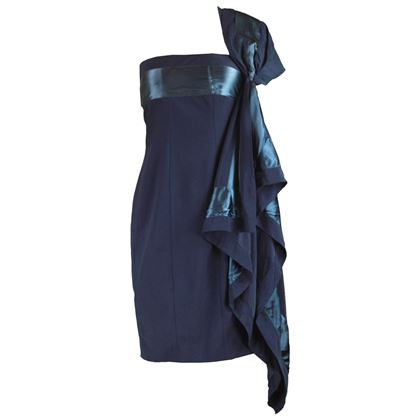 Gianfranco Ferre 1990s Blue Shoulder Train Dress