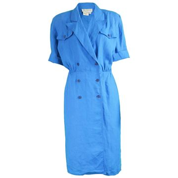 1980s Gucci Blue Linen Day Dress