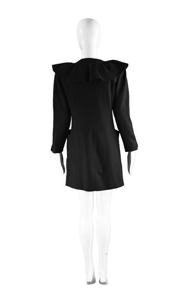 Nina Ricci 1980s Ruffled Black Wool Coat