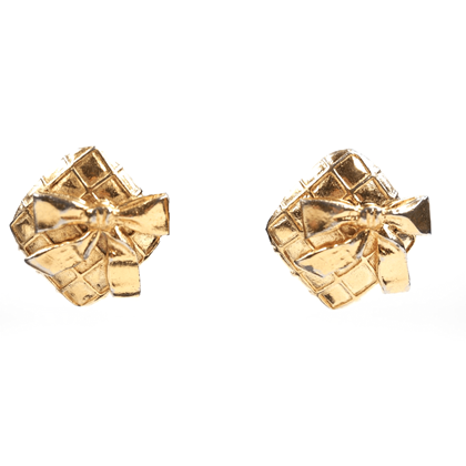 Picture of Chanel 1980s Quilted Gold Metal Bow Earrings