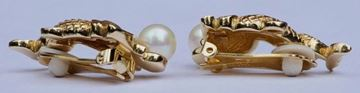 Christian Dior 1980s Gold Plated Fantasy Fish Faux Pearl Earrings