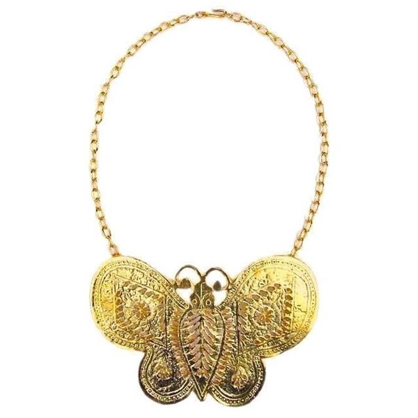 Modern Kenneth Jay Lane Large Gold Tone Butterfly Statement Necklace