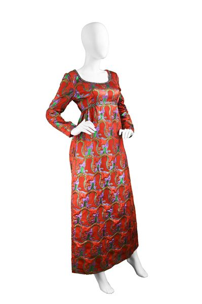 Victor Costa 1970s Red Brocade Evening Dress