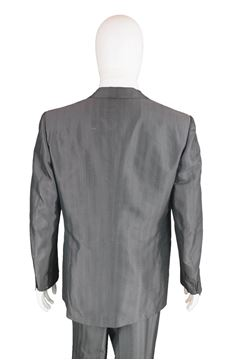 Christian Dior 1980s Mens Grey Silk Suit