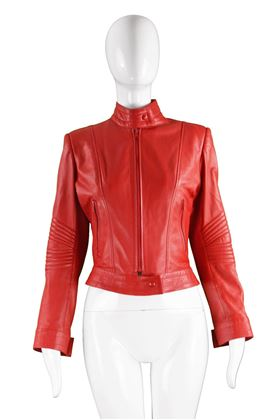 Jean Claude Jitrois Red Lambskin Leather Jacket