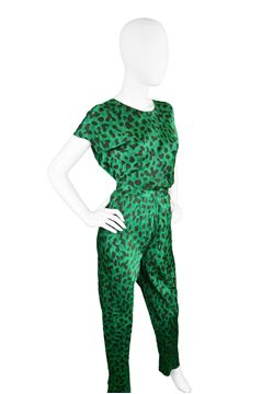 Celine 1990s Green & Black Silk Pant Suit