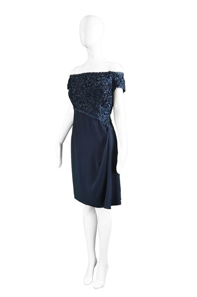 Catherine Walker 1980s Navy Blue Ribbonwork Evening Dress