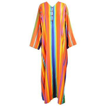 Neiman Marcus 1970s Rainbow Stripe Maxi Dress
